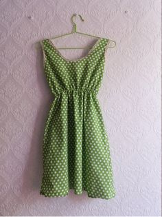 Cute green polka dot dress with lace by MyNameIsSueclothes on Etsy, €40.00