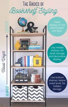 Bookshelf styling doesn't seem so overwhelming anymore. I really like these tips for arranging your shelves according to visual weight and how to mix and match books and home decor. Click through to learn how to decorate a bookshelf.