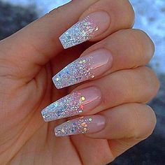 Cute Acrylic Nail Designs, Best Acrylic Nails, Silver Acrylic Nails, Gold Nail, Silver Nail Designs, Glitter Nail Designs, White Nail, Coffin Nails Ombre, Pink Coffin