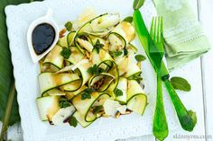 Zucchini Ribbon Salad With Pine Nuts, Mint, and Shaved Parmesan. A truly unique and delicious salad :)  #zucchini #salad #parmesan #skinnyms #recipe