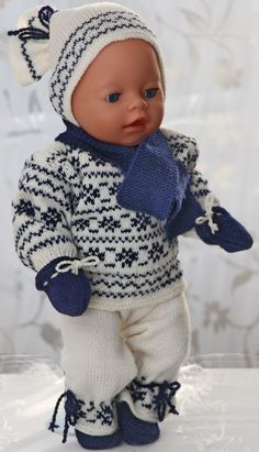 Baby Knitting Patterns Newborn Knitting pattern for doll clothes 6 pieces and many others Knitting Dolls Clothes, Crochet Doll Clothes, Knitted Dolls, Baby Born Clothes, Bitty Baby Clothes, Baby Clothes Patterns, Clothing Patterns, Baby Born Kleidung, Crochet Pullover Pattern