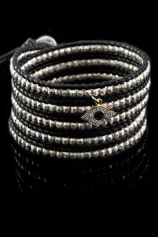 Sterling Silver Bead Wrap Bracelet on Natural Black Leather with Diamond Evil Eye Charm