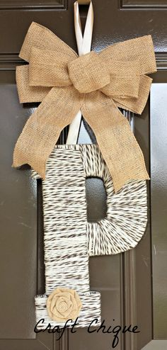 Your place to buy and sell all things handmade Door Initial, Yarn Wrapped Letters, Burlap Wreath, Christmas Ideas, Initials, Lettering, Unique Jewelry, Handmade Gifts, Crafts