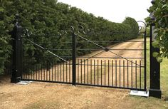 Electric Cambridge Gates Metal Garden Gates, Metal Gates, Wrought Iron Gates, Wood Gates, Farm Gate, Fence Gate, Fencing, Driveway Entrance, Entrance Gates