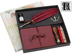 Carpe Diem Journal  Writing Set with Burgundy Quill Pen, Ink & Wax Seal