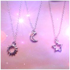 Dainty Sterling silver Sun Moon or Star necklace by lotusfairy, $12.00