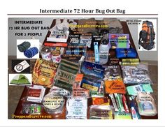 Bug Out Bag Picture & Checklist, 72 Hrs.