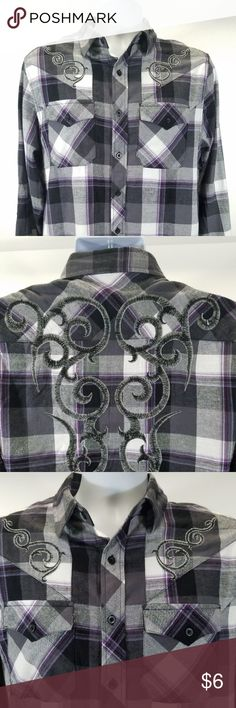 """CJ BLACK Mens Slim Fit Size Medium Long Sleeve CJ BLACK Men's Slim Fit Size Medium Long Sleeve Embroidered Western Button Down  Gently pre owned no rips holes or stains  Measurements:  Shoulders 18""""   Pit to Pit 20""""   Length 28""""  Thank you for visiting my shop if you have any questions please let me know. CJ Black Shirts Casual Button Down Shirts"""