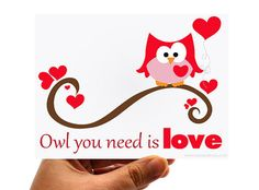 Set of 6 Owl you need is love card by Mariapalito on Etsy