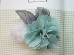 Wedding Hair Piece. Turquoise Chiffon Flower Sliver by Shoimade