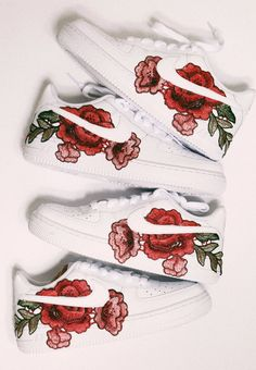 brand new nike air force 1 with rose patch shoes are made to order - please allow business days to customize (not including shipping time) don't see your size? email us at info custom shoes are final sale Nike Air Force, Air Force 1, Nike Shoes Air Force, Basket Style, Aesthetic Shoes, Business Outfit, Hype Shoes, Shoe Art, Custom Shoes