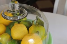 Lemons and limes look even prettier placed in a vintage cake stand.