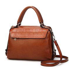 Designers Brand High Quality Women Boston Handbags PU Leather Work Bag Women Crossbody Bag Brown Ladies Shoulder Bags Tote