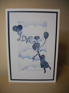 """Clarity """"Love"""" stamp and clouds mask. By Deborah Wheeler"""