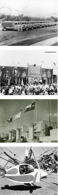 """Dr Pepper trucks in Dallas. """"Bop City"""" Rhythm and Blues revue in the mid-50s at the fair. The exterior of Fair Park during the Centennial in 1936. The """"Fly-O-Plane"""" at the State Fair midway - 50s"""