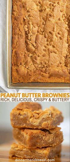 Peanut butter brownies are rich, delicious, crispy and buttery brownies with peanut butter filling and peanut butter chips in just 45 minutes! #brownies #brownie #dessert #holidays #christmas #baking #chocolate #peanutbutter #peanuts #peanutbutterbrownies #desserts #dinnerthendessert