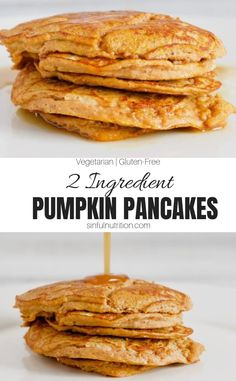 This 2 ingredient pumpkin pancake recipe is super easy to make, gluten-free, and requires no flour, oil, or refined sugar! A simple and healthy breakfast for the fall season! | @sinfulnutrition #sinfulnutrition #EasyGlutenFreePumpkinPancakes #FlourlessPumpkinPancakes