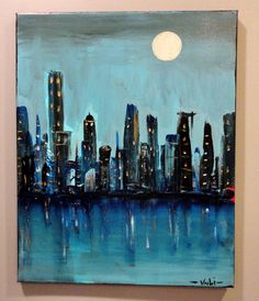 (SOLD) City Skyline Original Abstract Painting 16 by ExpressionismByVouli, $104.99