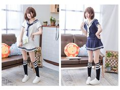 Set: Sailor Collar Short-Sleeve Top + Skirt