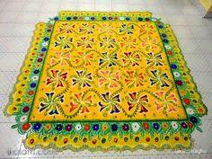 Spring Season In India, Sanskar Bharti Rangoli Designs, Yellow Carpet, Beginning Of Spring, Rangoli Ideas, Sweet Home, Projects To Try, Traditional, Blanket