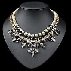 lyxig elegans ädla shourouk med pärla diamant guld stora halsband (1 st) – SEK Kr. 203