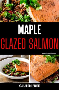 This Maple Glazed Salmon with Cranberry Pecan Quinoa Salad is a light and healthy dinner that you will come to crave!  This easy gluten free dinner is simple to make and always a hit. Gluten Free Recipes For Breakfast, Healthy Gluten Free Recipes, Gluten Free Dinner, Healthy Dinner Recipes, Maple Glazed Salmon, Quinoa Salad, Pecan, Seafood, Meals