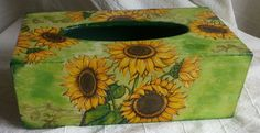 wooden tissue box cover, sunflowers by PtahArtGallery on Etsy
