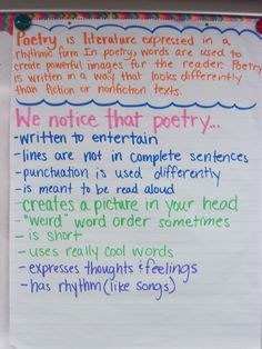 "poetry anchor chart-use the terms ""prose"" in the definition...and I'm not convinced that it is ""meant to be read aloud,"" but otherwise this is a great chart!"