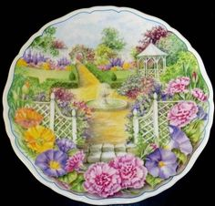 """""""The Fountain"""" - Secret Garden   Original artwork by Molly Roddis 1993   Series of Four: Gardeners Cottage, The Fountain , Secret Path , The Dovecote   To see more of this collection   http://www.royalalbertpatterns.com/Collector%20Plates/Secret%20Garden.htm"""