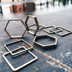 Brass Square & Hexagon Rings | Cyclical Industry Brooklyn, NYC Brooklyn Nyc, Geometric Shapes, Compliments, Delicate, Industrial, Brass, Unique, Rings, Handmade