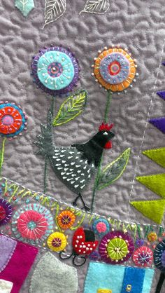 close up, Round the Garden quilt workshop with Wendy Williams as seen at KimzSewing. Wool applique.