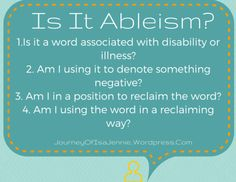 9 Everyday Phrases to Understand Ableism -- language is important Chronic Illness, Chronic Pain, Social Equality, Feminist Books, Internet Memes, Intersectional Feminism, Social Activities, Words Worth