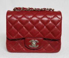 Chanel Mini True Red Square Caviar Leather Messenger Bag