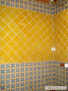 MexicanTiles.com - Bathroom Wall with Guadalajara Mexican Talavera Tile