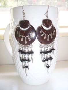 Coconut earrings / silver plated wire / dark by DaNaturalRoots, $23.00