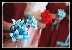 Origami blue lilies bouquet