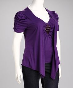 Take a look at this Delirious Apparel Purple Embellished Plus-Size Flyaway Top by Blow-Out on #zulily today!