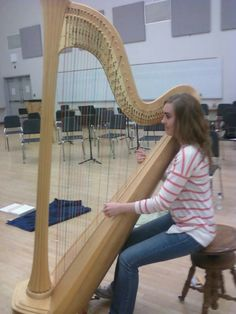 Practicing the Alexander Technique for correct posture for Harp. Harpist Jane Jackson.