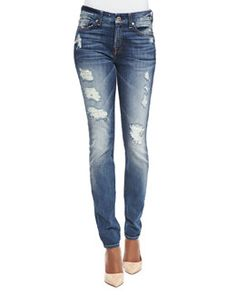 T8YEV 7 For All Mankind High-Rise Distressed Superskinny Jeans, Destroyed Deep Indigo