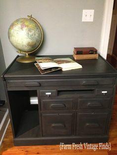 Oak Desk Revamped With Graphite - Farm Fresh Vintage Finds