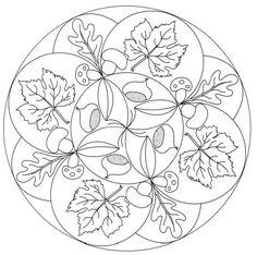 Fall mandala coloring pages Mandala Coloring Pages, Coloring Book Pages, Coloring Pages For Kids, Coloring Sheets, Autumn Crafts, Pyrography, Mandala Design, Mosaic Art, Line Drawing