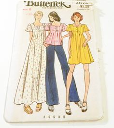 "1970s Boho Pleated tunic peasant top Maxi dress sewing pattern Butterick 3672 Size 8 Bust 31.5"" uncut ff by retroactivefuture on Etsy"