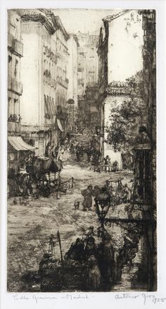 Anthony Gross(British, 1905-1984) Galle Gravina, Madrid   1925 etching