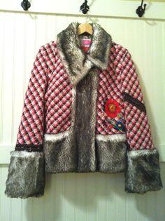 OILILY Jacket Coat Faux Fur Trim Vintage