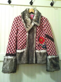 OILILY Jacket Coat Faux Fur Trim Vintage