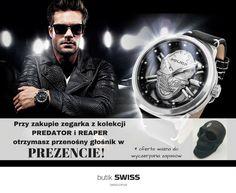 Do każdego zegarka z kolekcji PREDATOR i REAPER, klient otrzyma głośnik w kształcie czaszki. Zapraszamy Swiss Aleja Bielany