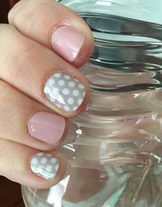 "Love how this turned out!! One of my favs! (Wraps- ""gray and white polka"" and ""daydream"")  Jamberry nail wraps Shop at Ladisa.jamberry.com"