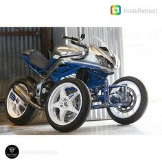 @otctools Credit to @triump...Instagram photo | Websta (Webstagram) 3 Wheel Motorcycle, Reverse Trike, 4 Wheelers, 3rd Wheel, Go Kart, Concept Cars, Motorbikes, Scooters, Cars And Motorcycles
