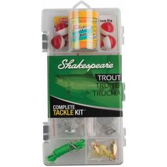 Trout Tackle Box KitManufacture ID: a Shakespeare Catch More Fish tackle box, first-time anglers will have everything they need to enjoy a day on th Fishing Tackle, Fishing Tips, Fishing Lures, Walmart Usa, Shakespeare Fishing, Trout Bait, Tackle Bags, Fishing Equipment, Cool Tools