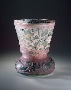 Émile Gallé | Vase with Ribbons, Floral Motifs and Dragonflies. Workshop of Emile Galle, France, Nancy. Circa 1889.  Hermitage Museum.